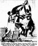 1933 NShore's Harry London marks in front of his Eastern Suburbs opponent