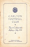 1939 Carlton FC Sydney Tour Itinerary front page small