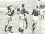 1949 - Mal Dean ES (No. 13) v North Shore at Henson. George Brack (NS) on right smaller