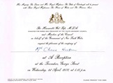 1970-04-01 - Chris Huon Invitation to Royal Reception small