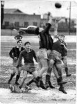 1951 North Shore (in the vertical striped jumpers) v Eastern Subs at Henson Park