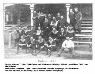 1881 Sydney Football Club, photograph taken in front of the former Members Stand.